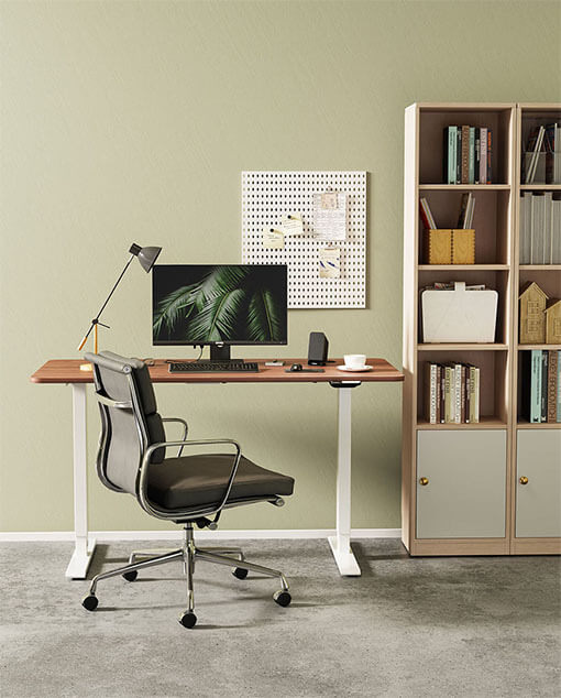 Humanmotion Electric Sit-Stand Desk with Wood Grain Desktop