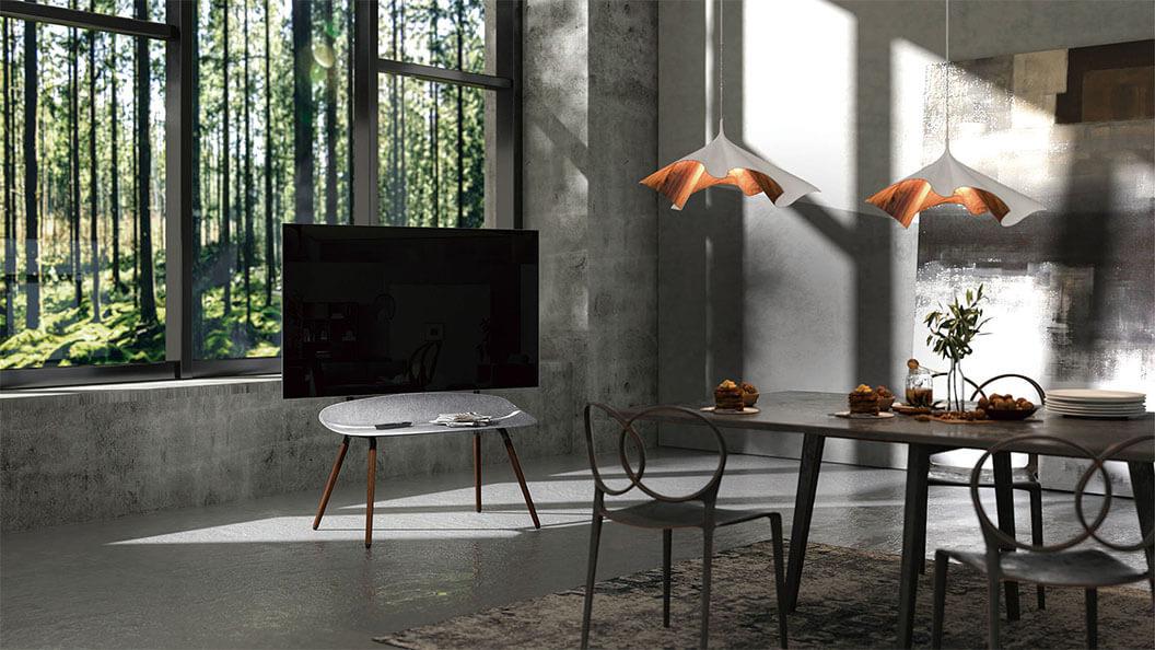 Easel Studio TV Floor Stand with Felt Shelving