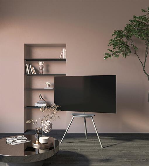 Kickstand-Style Studio TV Floor Stand with Felt Shelf