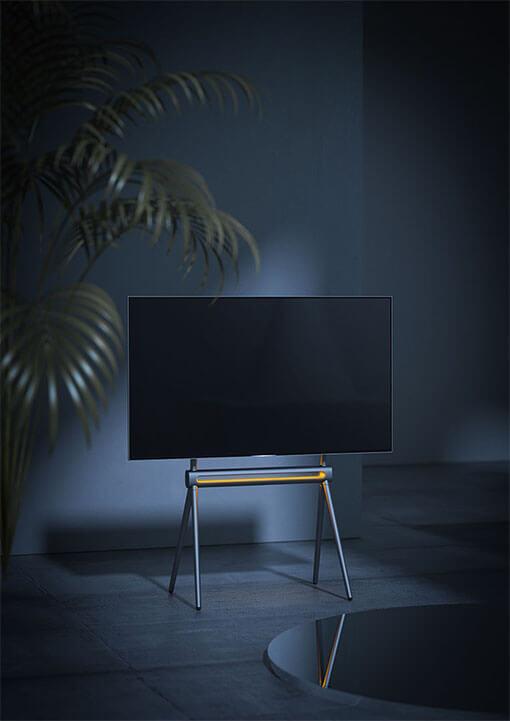 Scandinavian Easel Studio Steel TV Floor Stand