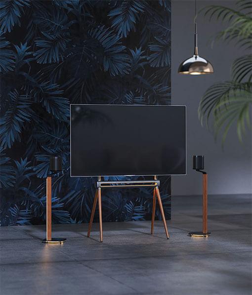 Scandinavian Easel Studio TV Floor Stand and Speaker Floor Stand